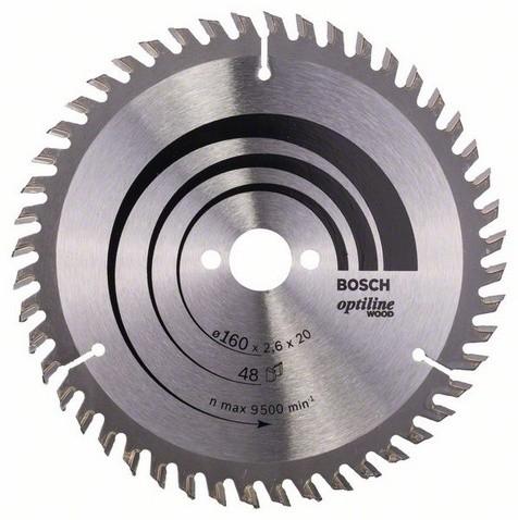 Kreissägeblatt Optiline Wood für Handkreissägen, 160 x 20/16 x 2,6 mm, 48