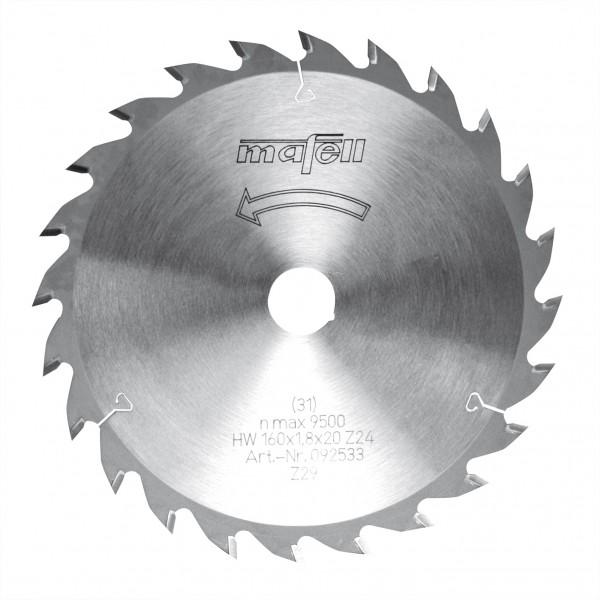 Sägeblatt-HM 160x1,8x20 mm Z 24 WZ, 092533