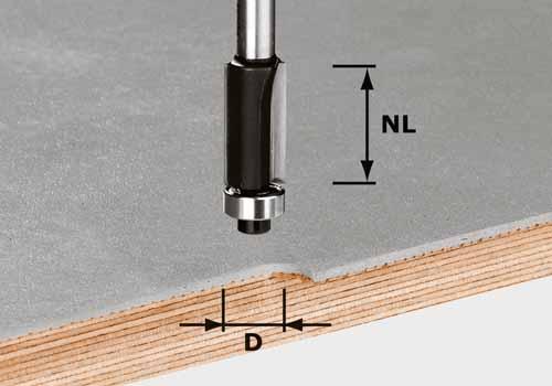 Bündigfräser HW Schaft 8 mm HW S8 D12,7/NL25, 491027