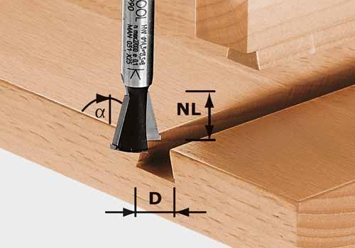 Grat-/Zinkenfräser HW Schaft 8 mm HW S8 D14,3/13,5/15°, 490990