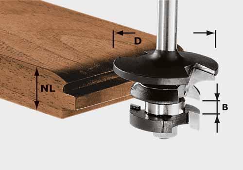 Konterprofilfräser Feder HW Schaft 8 mm HW S8 D43/21 A/KL, 491130#