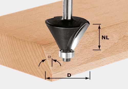 Fasefräser HW Schaft 8 mm HW S8 D25,7/25,7/15°, 491132