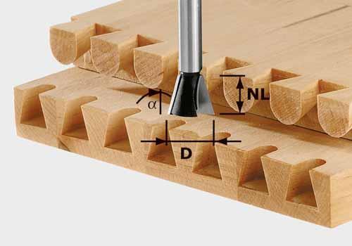 Grat-/Zinkenfräser HW Schaft 8 mm HW S8 D14,3/16/10°, 491164