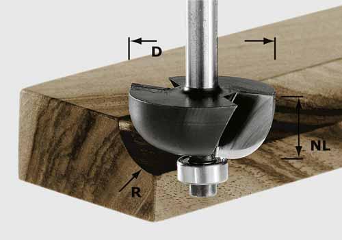 Hohlkehlfräser HW Schaft 8 mm HW S8 D31,7/R9,5 KL, 491020