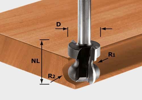 Griffleistenfräser HW Schaft 8 mm HW S8 D22/16/R2,5+6, 491140