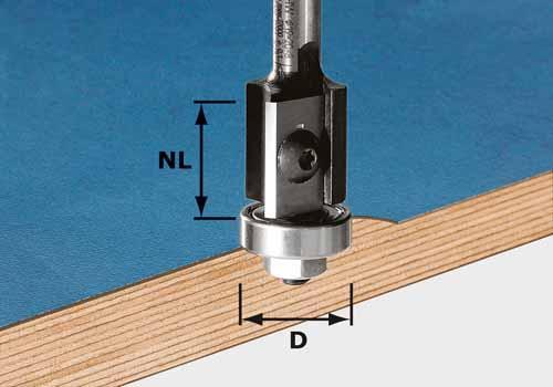 Wendeplatten-Bündigfräser HW Schaft 8 mm HW S8 D19/20WM Z2, 491082
